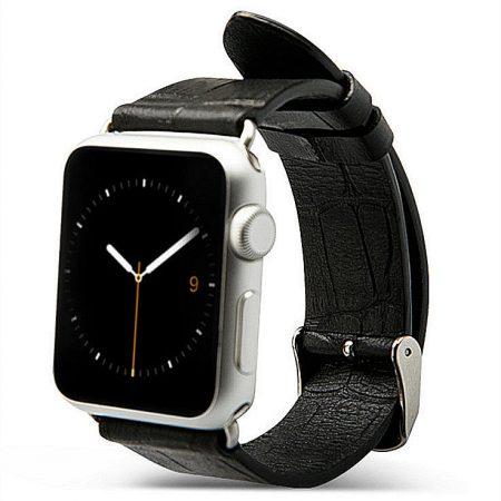 Black Crocodile Pattern Apple Watch Band 38mm 42mm