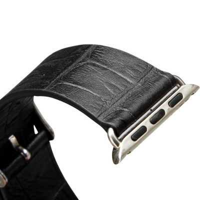 Black Crocodile Pattern Apple Watch Band 38mm 42mm-Details