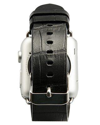 Black Crocodile Pattern Apple Watch Band-Back