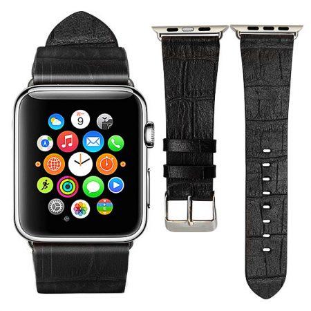Black Crocodile Pattern Apple Watch Band-Front