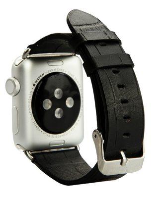 Black Crocodile Pattern Apple Watch Band-Side