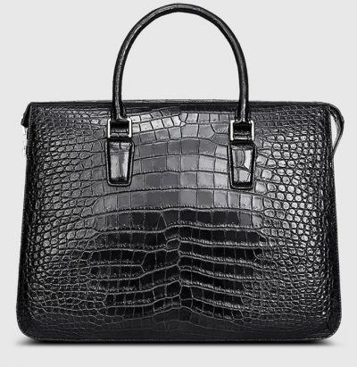 Black Luxury Crocodile Laptop Bag for Men-Front