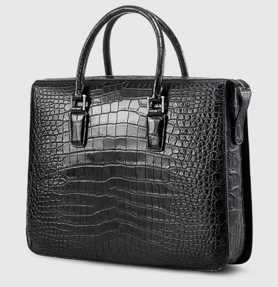 Black Luxury Crocodile Laptop Bag for Men-Side