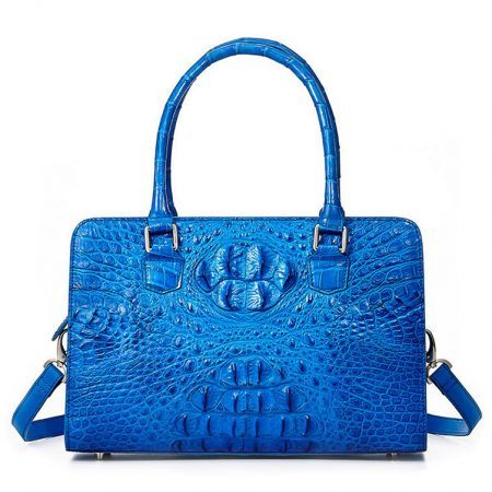 Blue Crocodile Shoulder Bag, Crocodile Handbag