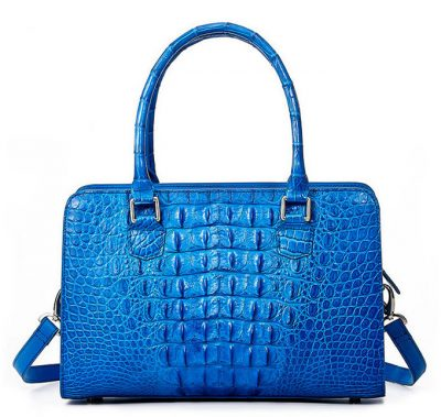 Blue Crocodile Shoulder Bag, Crocodile Handbag-Back