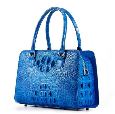 Blue Crocodile Shoulder Bag, Crocodile Handbag-Right