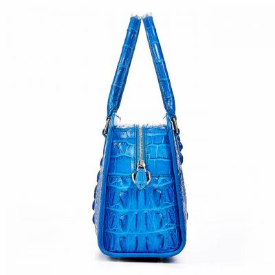 Blue Crocodile Shoulder Bag, Crocodile Handbag-Side