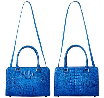 Blue Crocodile Shoulder Bag, Crocodile Handbag-Starp