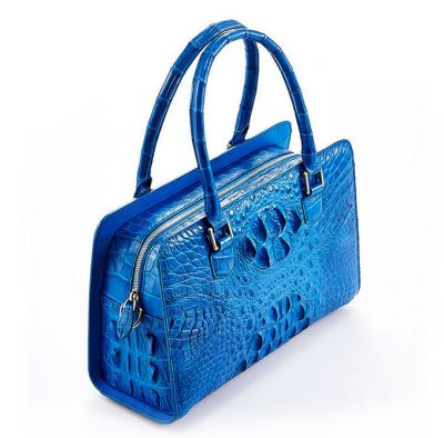 Blue Crocodile Shoulder Bag, Crocodile Handbag-Top
