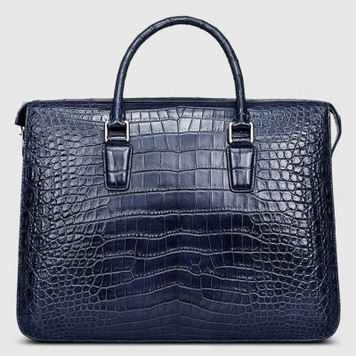 Blue Luxury Crocodile Laptop Bag for Men-Front
