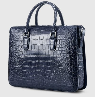 Blue Luxury Crocodile Laptop Bag for Men-Side