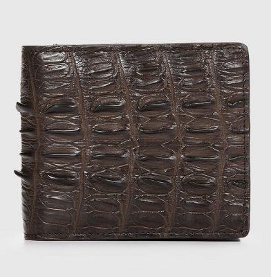 Brown Bifold Genuine Crocodile Wallet-Front