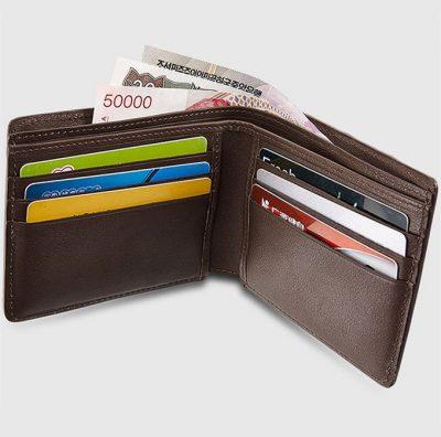 Brown Bifold Genuine Crocodile Wallet-Inside