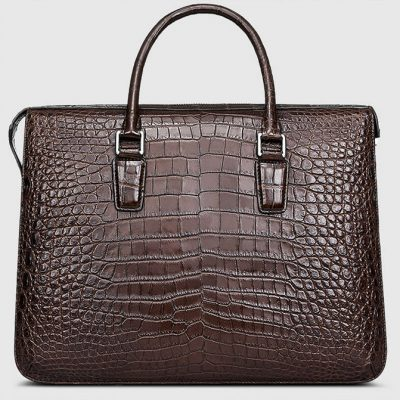 Brown Luxury Crocodile Laptop Bag for Men-Back