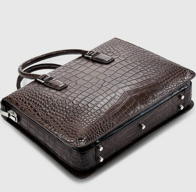 Brown Luxury Crocodile Laptop Bag for Men-Bottom