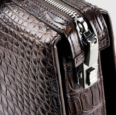 Brown Luxury Crocodile Laptop Bag for Men-Lock