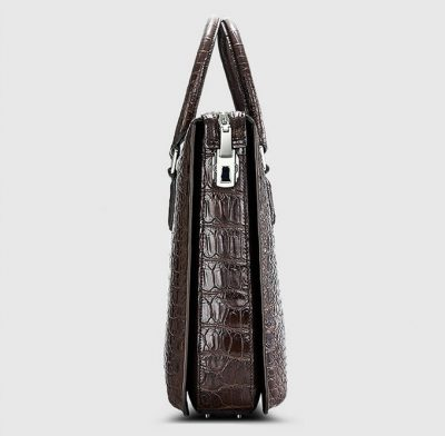 Brown Luxury Crocodile Laptop Bag for Men-Side
