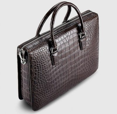Brown Luxury Crocodile Laptop Bag for Men-Top