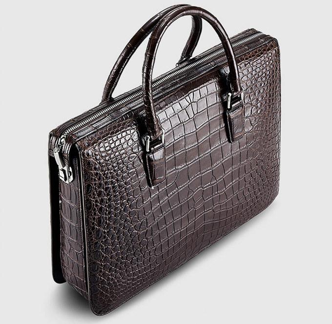 Brown Luxury Crocodile Laptop Bag for Men-Top 3ca5c6b228bd1
