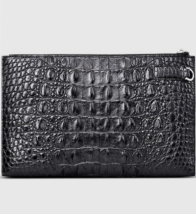 Casual Black Genuine Crocodile Wallet-Back