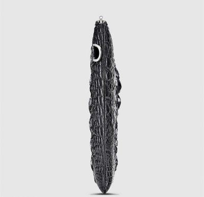 Casual Black Genuine Crocodile Wallet-Side