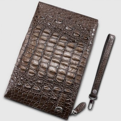 Casual Genuine Crocodile Wallet-Back-Brown
