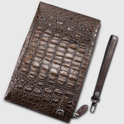 Casual Genuine Crocodile Wallet-Back-Brown