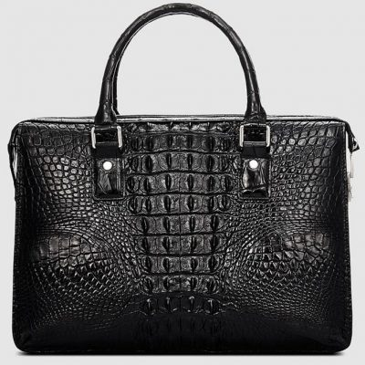 Classic Black Genuine Crocodile Briefcase-Back