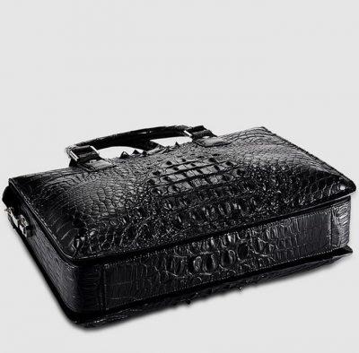 Classic Black Genuine Crocodile Briefcase-Bottom