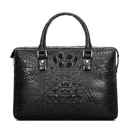 Classic Black Genuine Crocodile Briefcase-Front