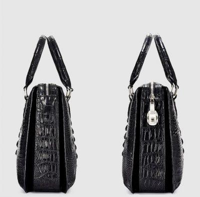 Classic Black Genuine Crocodile Briefcase-Side