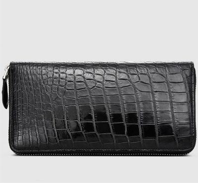Classic Black Genuine Crocodile Wallet-Left