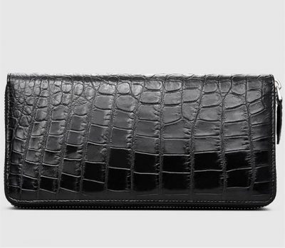 Classic Black Genuine Crocodile Wallet-Right
