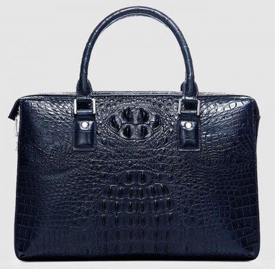 Classic Blue Genuine Crocodile Briefcase-Front