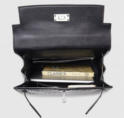 Crocodile City Bag, Crocodile Handbag-Inside