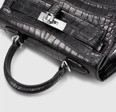 Crocodile City Bag, Crocodile Handbag-Lock
