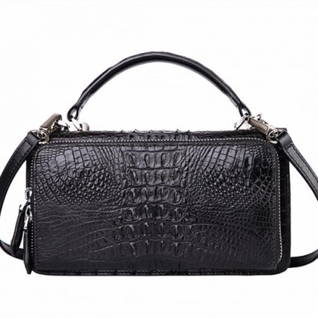 Crocodile Clutch Evening Bag, Crocodile Handbag, Crocodile Crossbody Bag-Back