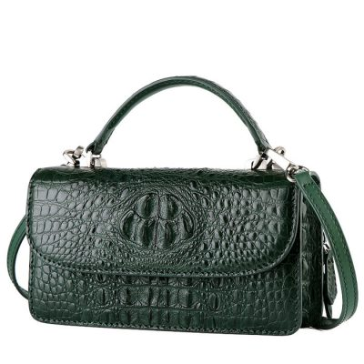 Crocodile Clutch Evening Bag, Handbag, Crossbody Bag-Drak Green