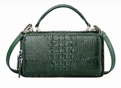 Crocodile Clutch Evening Bag, Handbag, Crossbody Bag-Drak Green-Back
