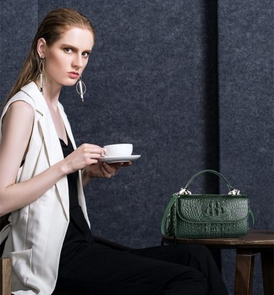 Crocodile Clutch Evening Bag, Handbag, Crossbody Bag-Drak Green-Exhibition