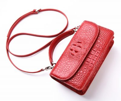 Crocodile Clutch Evening Bag, Handbag, Crossbody Bag-Strap