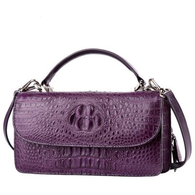 Crocodile Clutch Evening Bag, Handbag, Crossbody Bag-purple