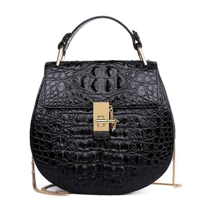 Crocodile Evening Handbag, Crocodile Wrist Bag-Black