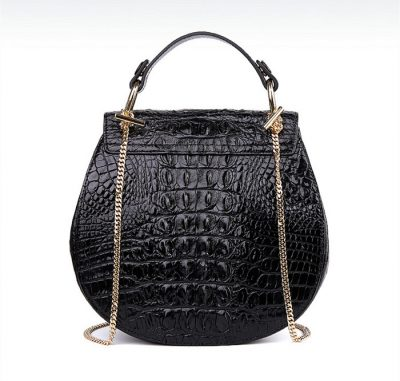 Crocodile Evening Handbag, Crocodile Wrist Bag-Black-Back