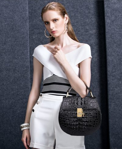 Crocodile Evening Handbag, Crocodile Wrist Bag-Black-Exhibition