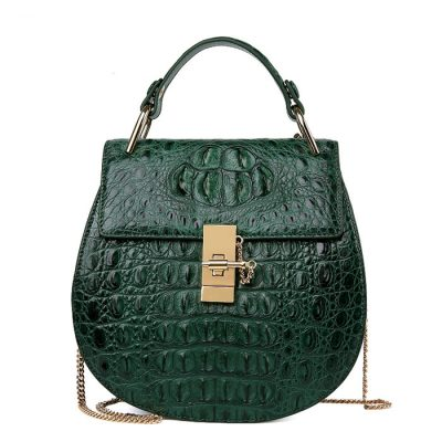 Crocodile Evening Handbag, Crocodile Wrist Bag-Green
