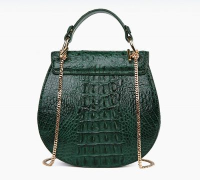 Crocodile Evening Handbag, Crocodile Wrist Bag-Green-Back
