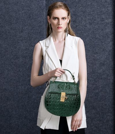 Crocodile Evening Handbag, Crocodile Wrist Bag-Green-Exhibition