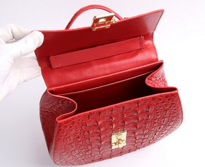 Crocodile Evening Handbag, Crocodile Wrist Bag-Inside
