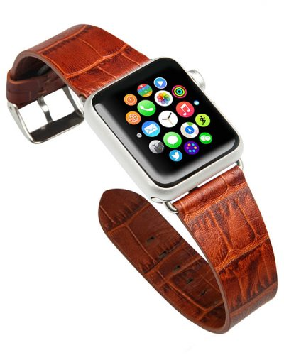 Dark Brown Crocodile Pattern Apple Watch Band-Front